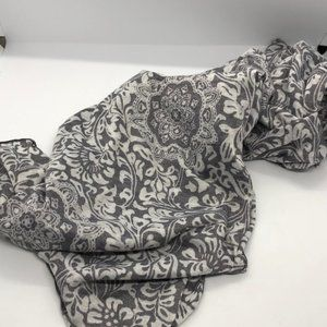 Grey blue and white cotton blend scarf